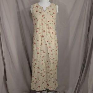 Linen Blend Sheath Maxi Dress LL Bean Floral Print